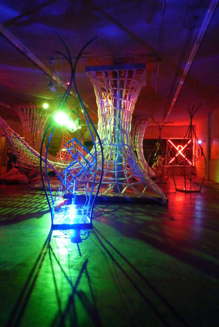 "Russ RuBert's neon and LED sculptures and Art of Space's ""Knitting Space"""