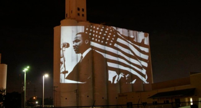 MLK projections on silo