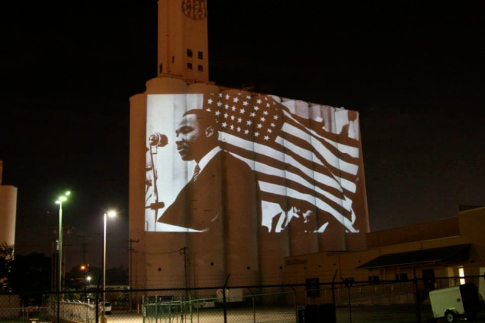 Projections of MLK  on historic silos inspire